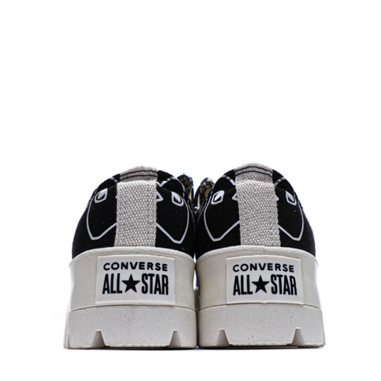Black Converse Play Comme Des Garcons Womens Chuck Taylor All Star Lugged Low Top Shoes
