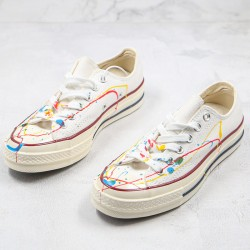 Converse All Star 1970s X Diy Paint Splatter Graffiti White Low Top Shoes