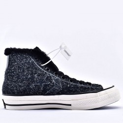 Converse Chuck 70 Fleece Leather Ox Black High Top Sneakers