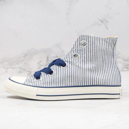 Converse Chuck Taylor All Star Big Eyelet Stripe Blue White Navy Womens Shoes