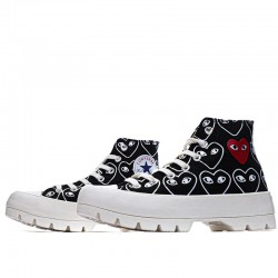 Converse Play Comme Des Garcons Womens Chuck Taylor All Star Lugged Low Top Black Sneakers