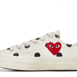 Converse Play Comme des Garcons Polka Dot Red Heart Chuck Taylor All Star 70 Low White