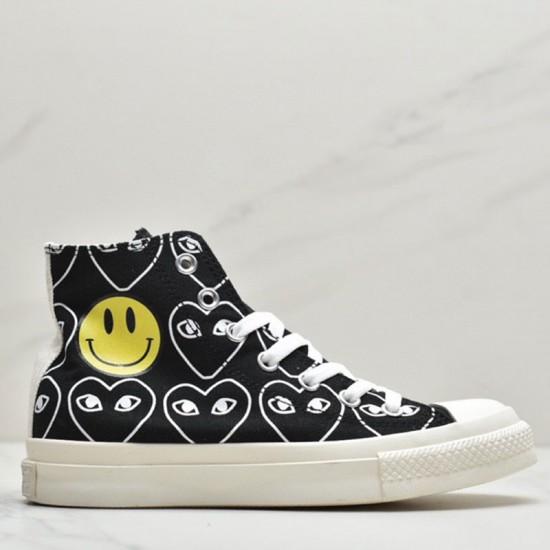 Smiley x Converse x Comme des Garcons Black High Tops Sneaker
