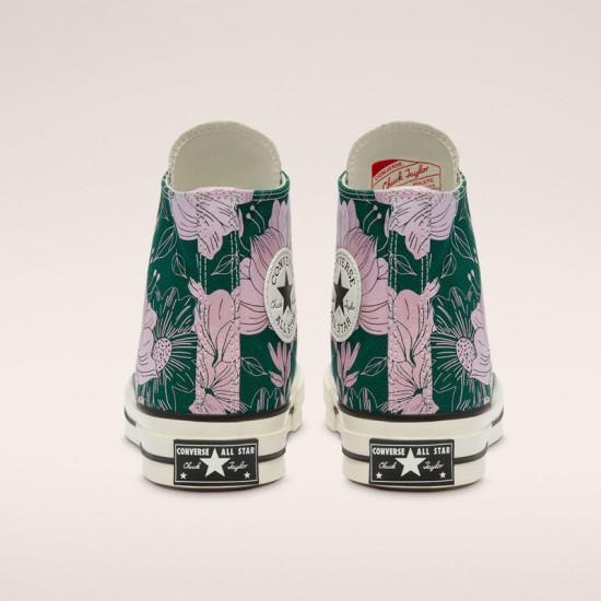 Unisex Converse Green Silver Egret Chuck 70 Vintage Floral High Top Shoes