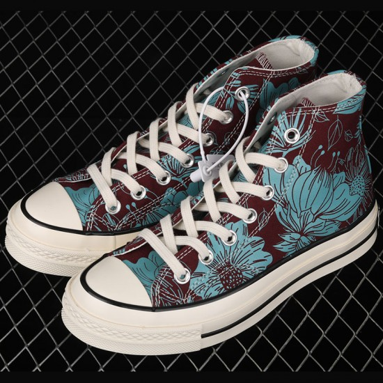 Unisex Converse Team Red Azure Haze Egret Chuck 70 Vintage Floral High Top Canvas