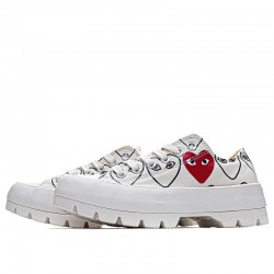 White Converse Play Comme Des Garcons Womens Chuck Taylor All Star Lugged Low Top Shoes