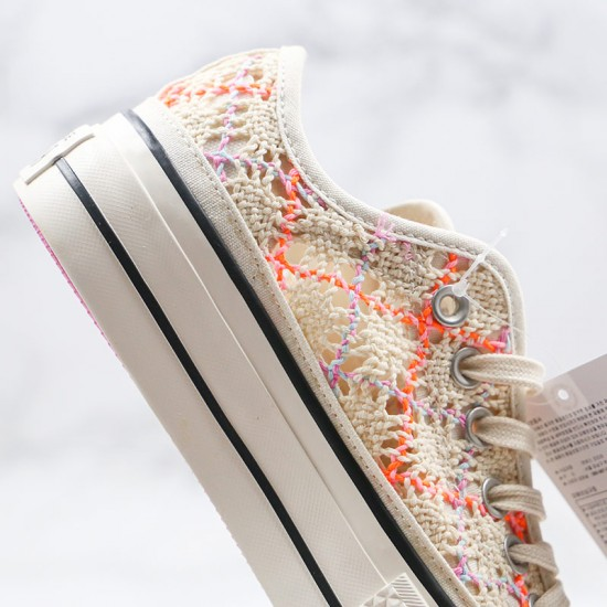 Womens Boho Crochet Converse Platform Chuck Taylor All Star Low Top