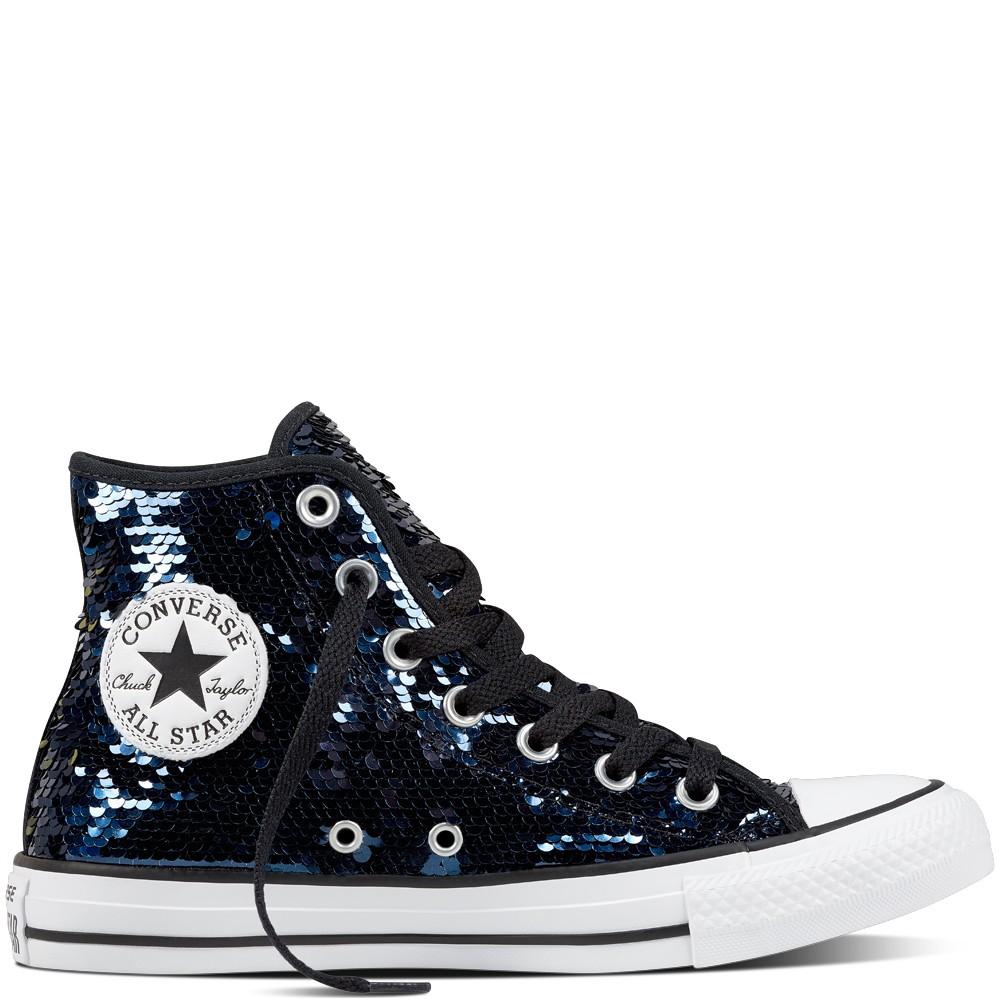 Star Sequin Blue Glitter Womens Shoes High