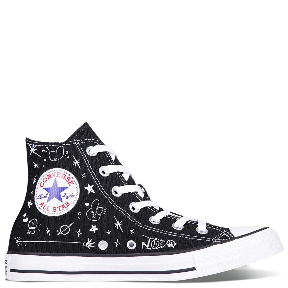 Surgir cortar Prisionero  Converse Chuck Taylor All Star x BT21 Black High Tops Shoes
