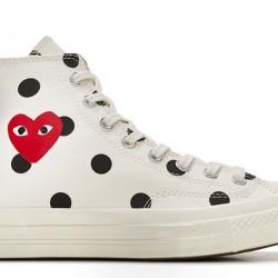 Converse Play CDG Converse Polka Dot Red Heart All Star High White